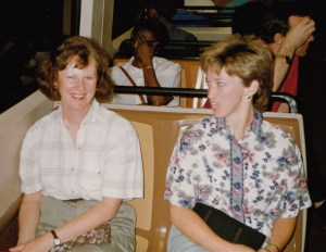 Peggy Cunninghamand Shirley Taylor ride the bus at CHARM 1993