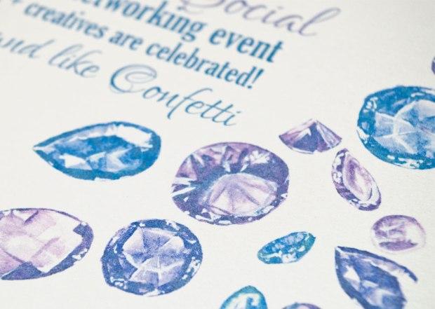 Gemstone painted wedding invitation design printed on shimmer metallic paper.