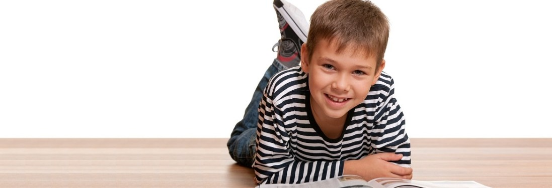 School age kid reading