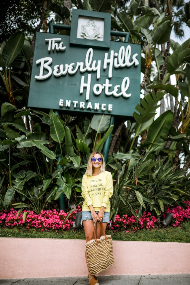 Yellow Sweatshirt at The Beverly Hills Hotel | Charmed by Camille