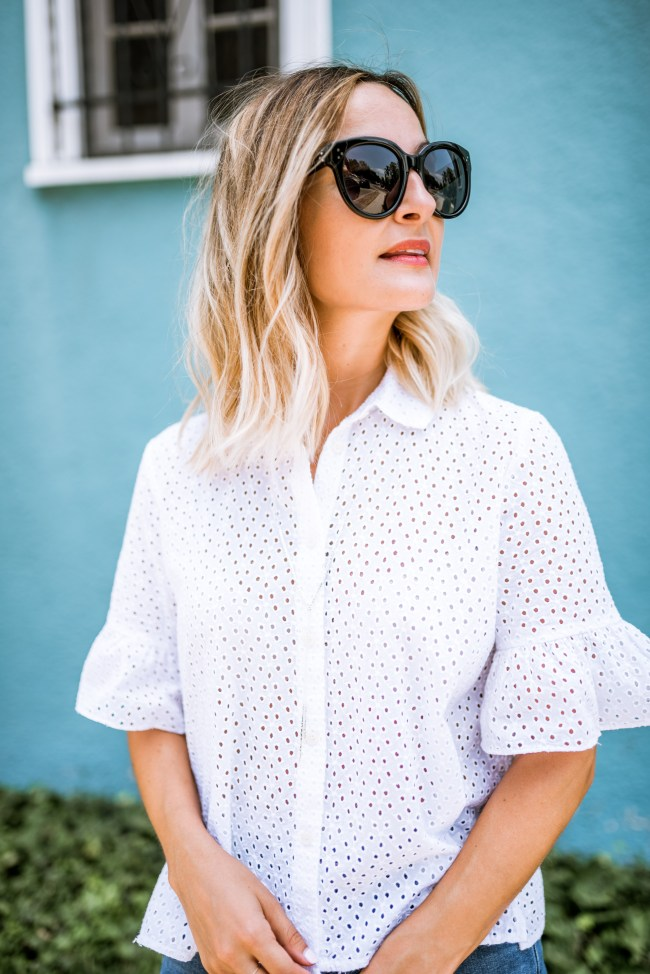 White Eyelet Top | Charmed by Camille