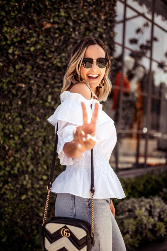 Off the Shoulder White Top | Charmed by Camille