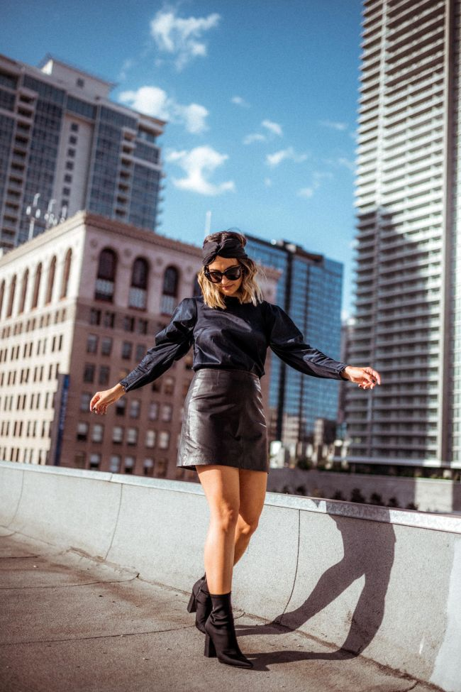 Puffy Sleeves Leather Skirt Outfit | Charmed by Camille