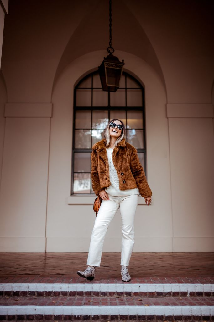 How to Wear Winter White, Brown Teddy Jacket | Charmed by Camille