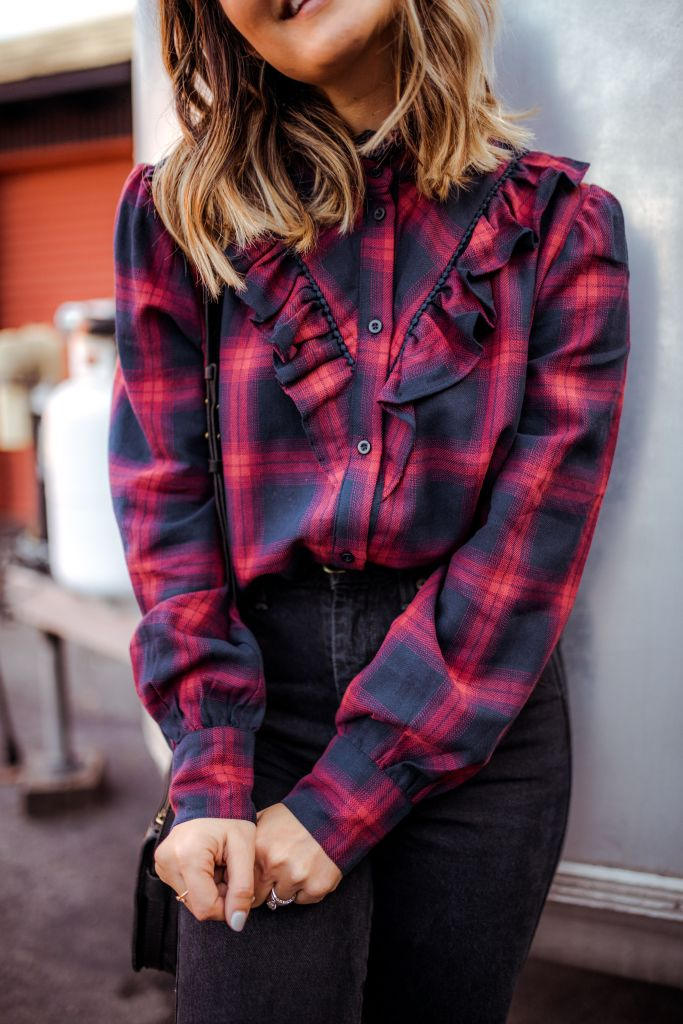 Plaid Ruffled Shirt | Charmed by Camille