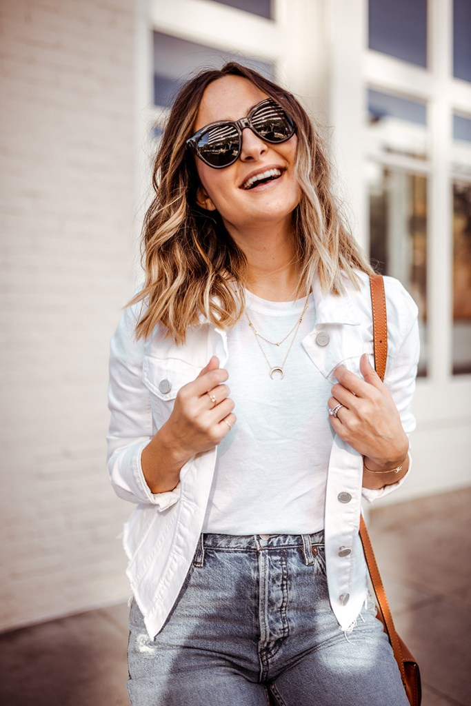 White Denim Jacket | Charmed by Camille