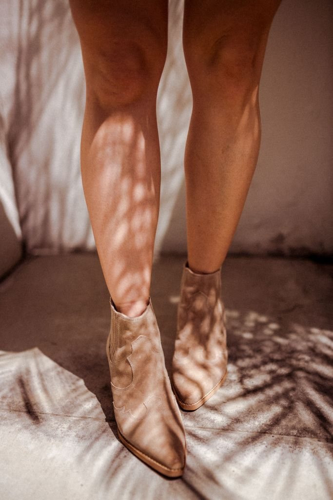 4 Must-Have Spring Shoes, Western Booties, Tan Booties   Charmed by Camille