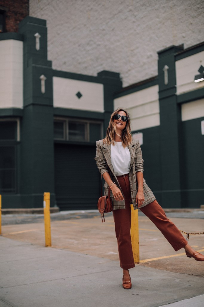 Plaid Blazer Outfit   Charmed by Camille