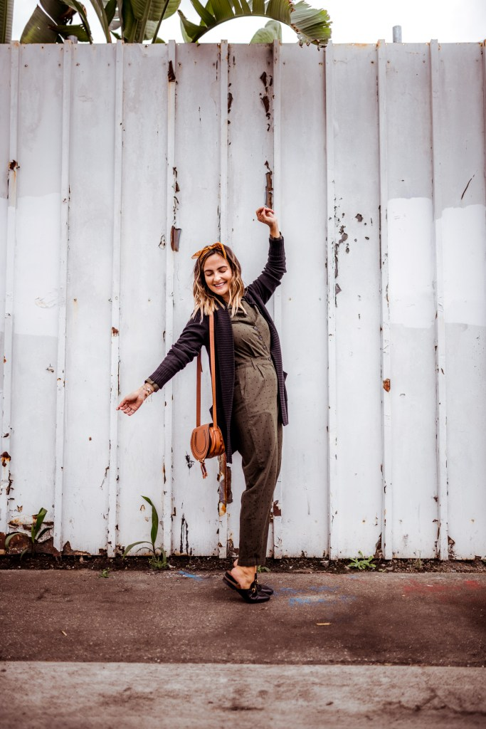 Olive Jumpsuit, Fall Outfit | Charmed by Camille