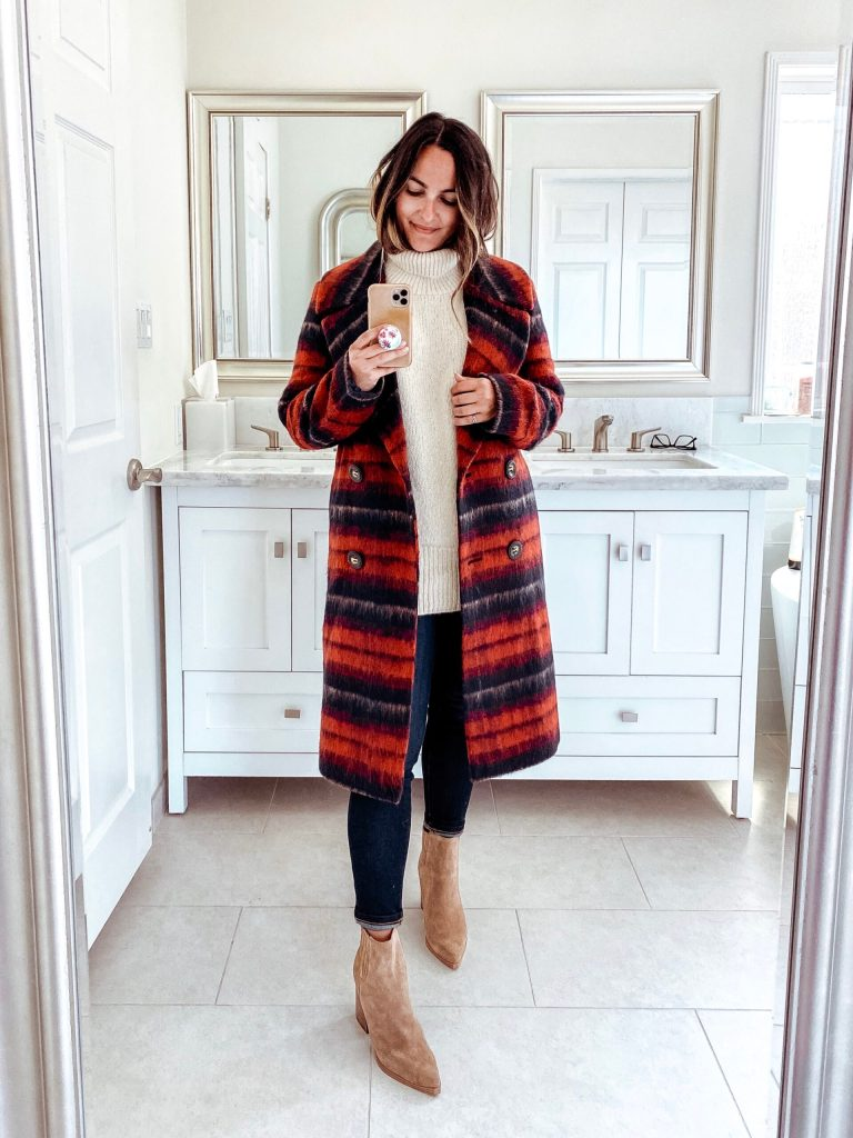 Red Plaid Coat Outfit | Charmed by Camille