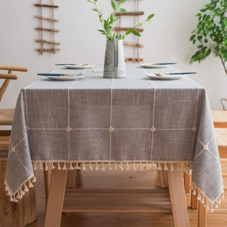 Gray Linen Tablecloth - Outdoor Dining Table Decor Under $50   Charmed by Camille