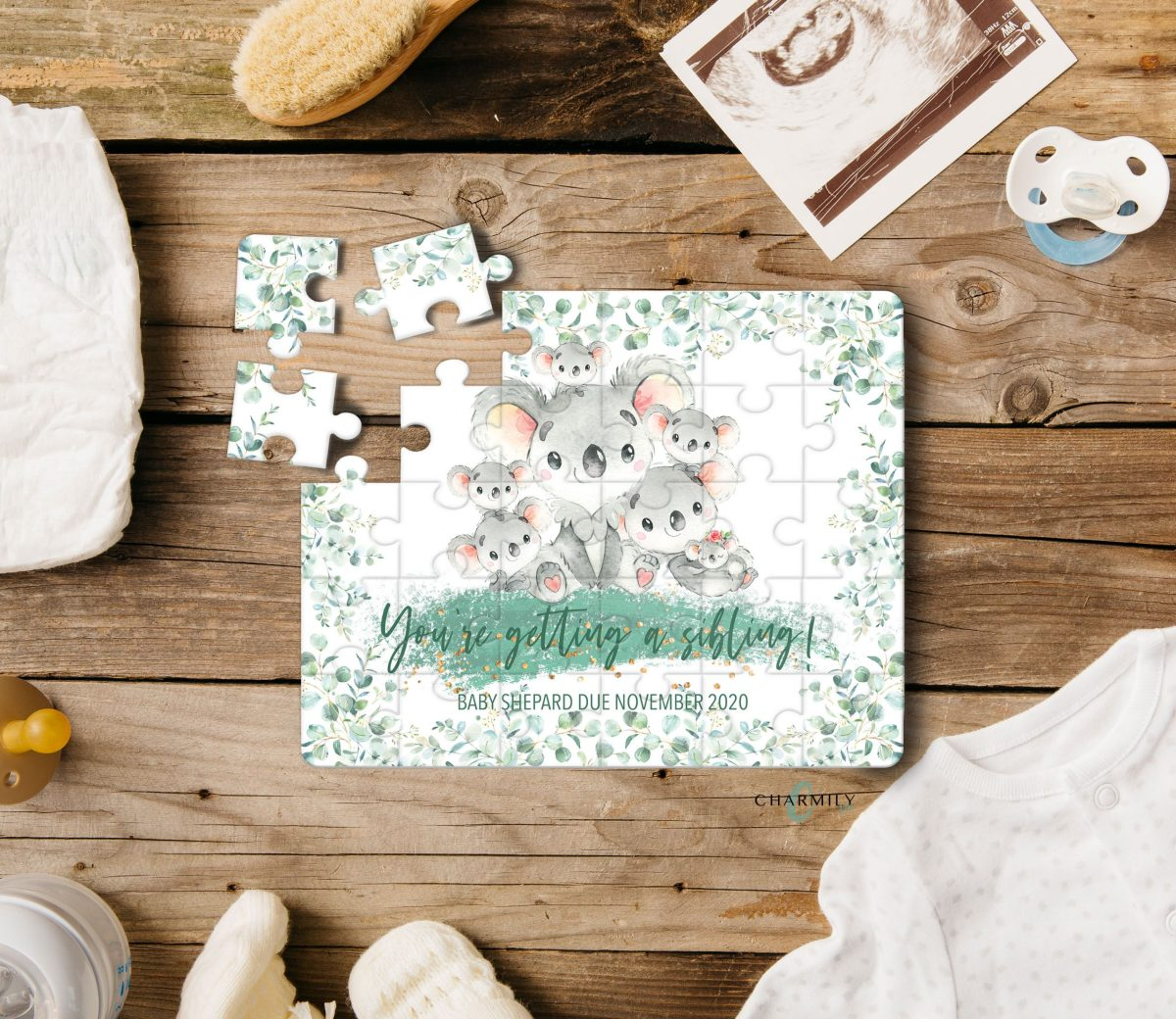 Koala | Custom Family Size | 30 Piece Puzzle | A4 | Baby Announcement | Pregnancy | Grandparents | Sibling | Charmily & Co