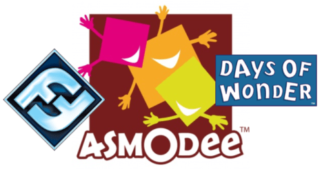 Fantasy Flight Games, Asmodee Games, and Days of Wonder logos