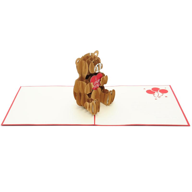 Teddy Love Pop Up Card Pop Up Birthday Card 3d Card High