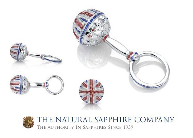 The Natural Sapphire Company's 18K White Gold Sapphire Ruby And Diamond Rattle (PRNewsFoto/The Natural Sapphire Company NY)