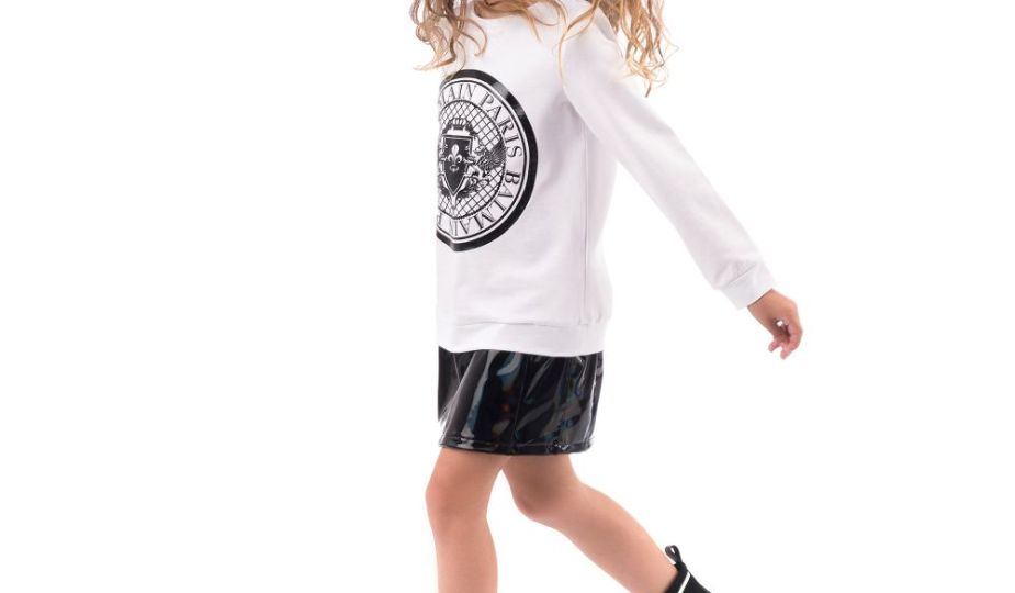 Balmain Paris Girls White Jersey Logo Dress CharmPosh Outfit Of Day