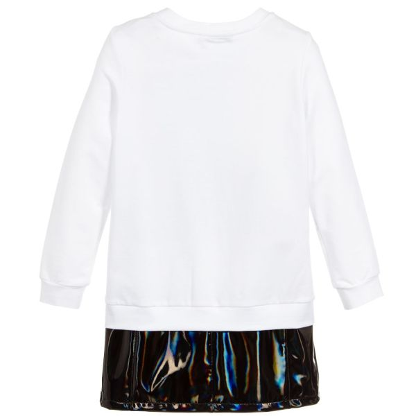 Balmain Paris Girls White Jersey Logo Dress CharmPosh back