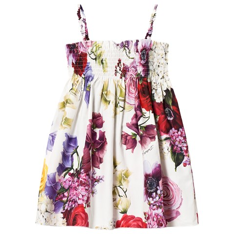Dolce and Gabbana Floral Strip White Dress For Girls CharmPosh