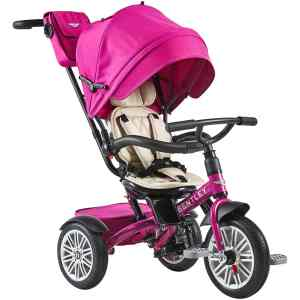 Fuchsia Pink Bentley 6-in-1 Folding Stroller Trike CharmPosh
