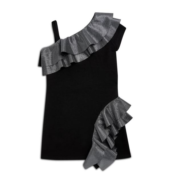 Balmain Kids Spring Summer 2019 One Shoulder Ruffle Dress CharmPosh