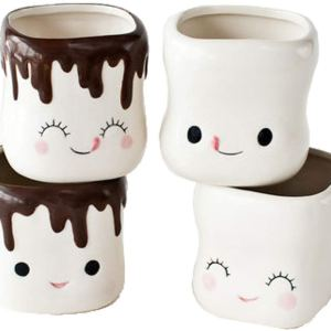Cute Marshmallow Shaped Hot Chocolate Mugs Set of 4 CharmPosh