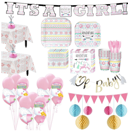 Pink Adventure Begins Premium Baby Shower Kit for 32 Guests