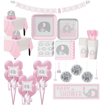 Pink Baby Elephant Premium Baby Shower Kit for 32 Guests @Charmpsoh.com