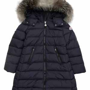 Moncler Abelle Down Coat with Genuine Blue Fox Fur Trim CharmPosh