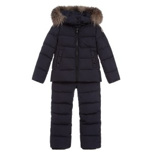 Girls Moncler Enfant Navy Blue Two-piece Snowsuit Down Padded CharmPosh Main