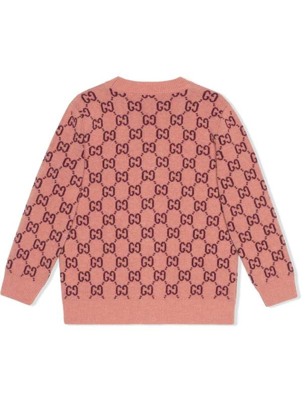 Pink Gucci Kids GG V-neck buttoned cardigan back CharmPosh