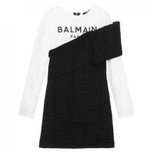 Balmain Girls Black White Logo Sweater Dress CharmPosh 2