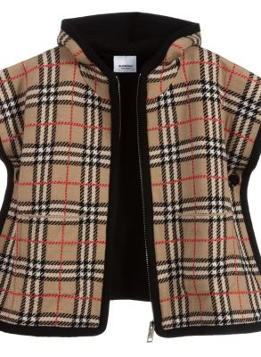 Girls Burberry Beige Check Wool Cape CharmPosh