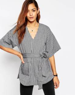 T-shirt raye ceinture a encolure en V Asos - Charonbelli's blog mode