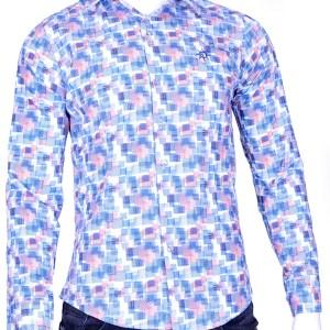 Ferlucci trendy slim fit geblokten heren overhemd met funky dessin, F343 Blauw