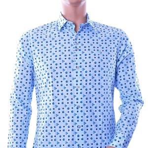Ferlucci trendy slim fit heren overhemd met blauw tomaten dessin, F444 Blauw