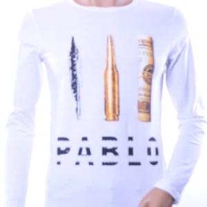 LAGOS trendy Pablo Escobar heren sweatshirt, L175 Wit