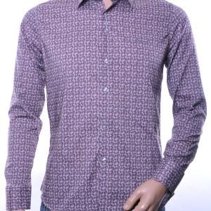 Ferlucci calabria trendy slim fit allover bladeren dessin heren overhemd, F087 Bruin