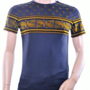 JAYLVIS trendy ronde hals heren T-Shirt met paisley print, J230 Zwart