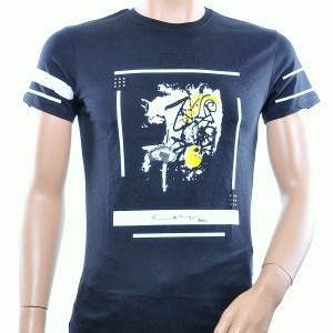 JAYLVIS trendy ronde hals lange heren T-Shirt met steentjes, J381 Zwart