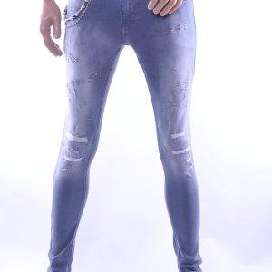 BlackRock trendy gescheurde slim fit heren skinny jeans, B528 Grijs