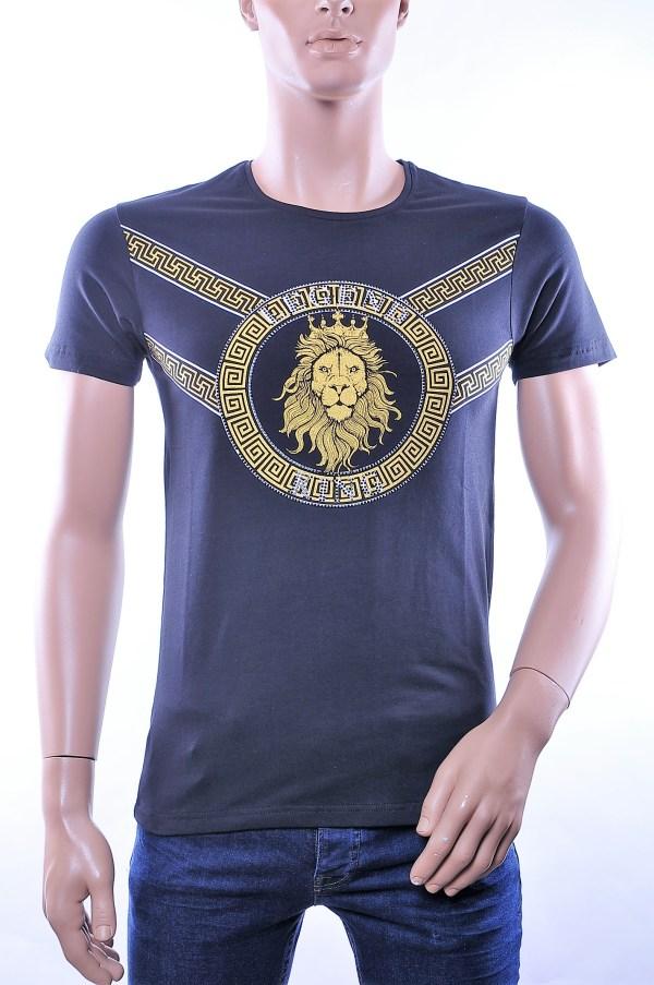 BlackRock trendy ronde hals heren T-Shirt met leeuwenkop print, B210 Zwart