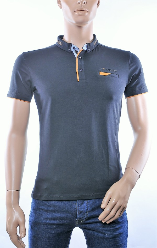 CLUB JU trendy button down kraag heren polo T-Shirt met borstzakje, C287 Zwart
