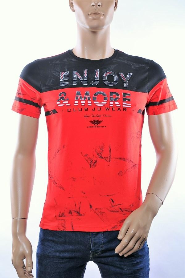 CLUB JU trendy ronde hals heren T-Shirt met 3D letters, C375 Rood