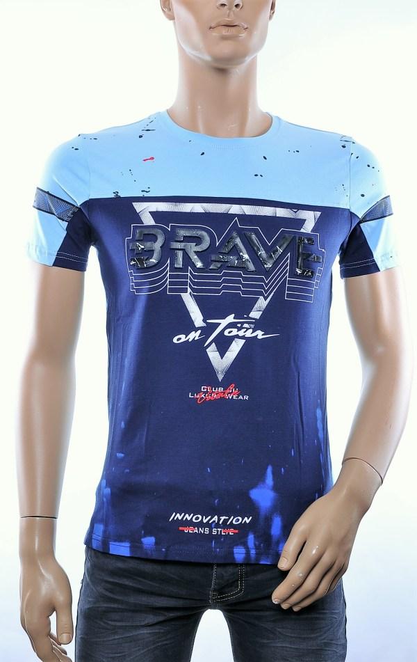 CLUB JU trendy ronde hals heren T-Shirt met 3D letters, C910 Blauw