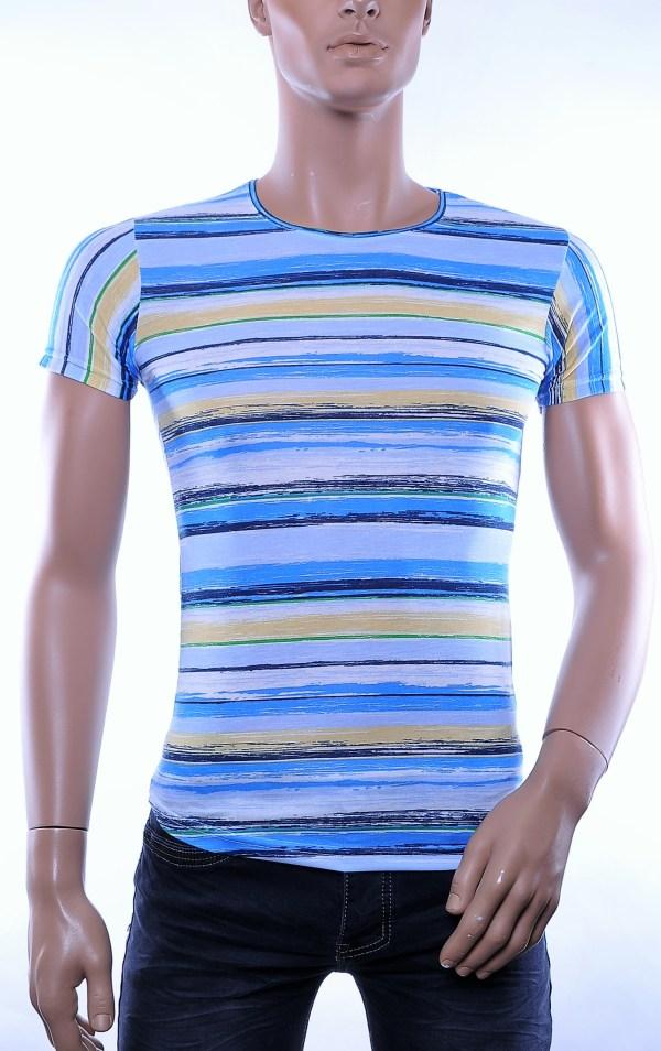 DSCOO trendy allover horizontale strepen dessin heren ronde hals T-Shirt, D268 Blauw