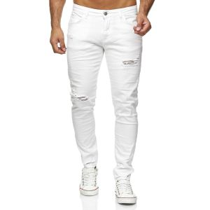 Red Bridge trendy gescheurde effen witte kleur slim fit heren skinny jeans, R423 Wit