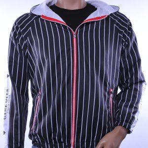 D&A trendy allover verticale strepen dessin heren jas met capuchon, D006 Zwart-Wit