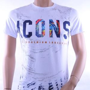 Club Ju trendy ronde hals ICONS print heren T-Shirt, C706 Wit
