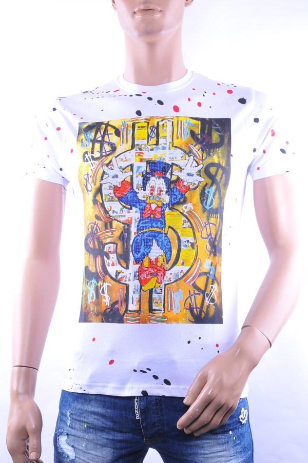 Black Exclusive trendy allover print ronde hals heren T-Shirt met steentjes, B311 Wit
