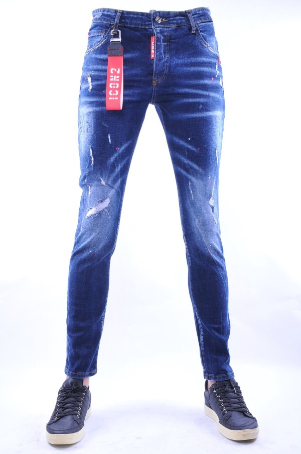 ICON2 hippie gescheurde slim fit heren spijkerbroek met verfvlekjes, I132 Blauw